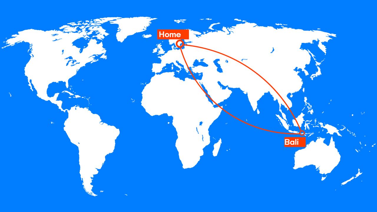 flyg från stockholm till bali