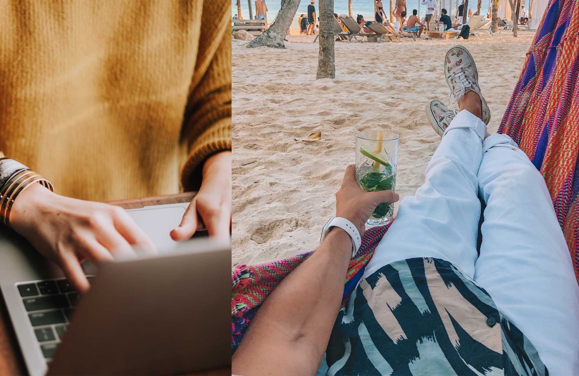 working at the office vs working at the beach