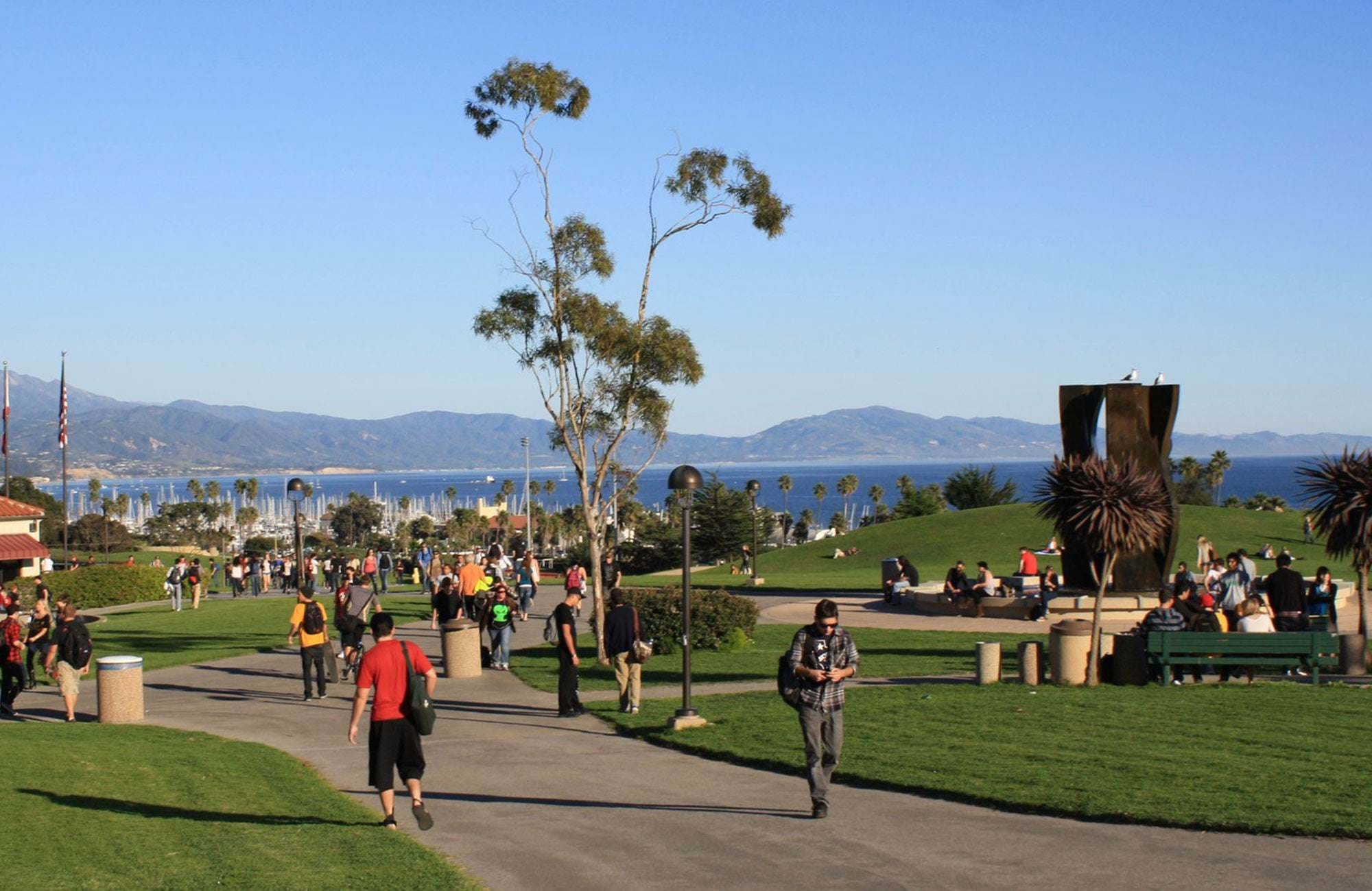 Students On Campus By The Water At Santa Barbara City College Usa